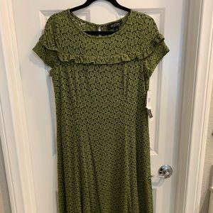 Beautiful Tea-length Olive Green Dress